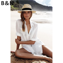 Summer Beach long clothes Tunic Pareos For Women Kaftan 2018 New Cotton Shirt Long Sleeve Size Sexy Cover Up
