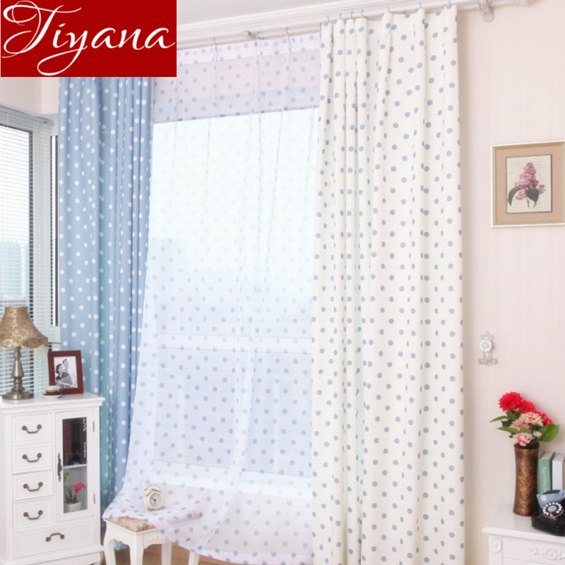 Small Dot Curtains Window Screen Voile Printed Yarn Panel Kids Room Bedroom  Modern Living Room Curtains