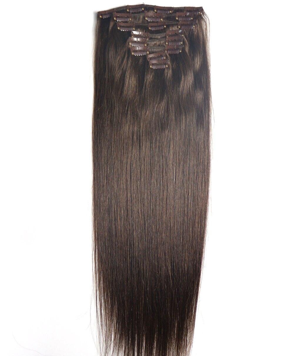 ZZHAIR 160 г-100 г 16 -26 машина сделанная remy волосы 8 шт. набор клипов в 100% человеческих волос для наращивания полный комплект головы Натуральные Пр...