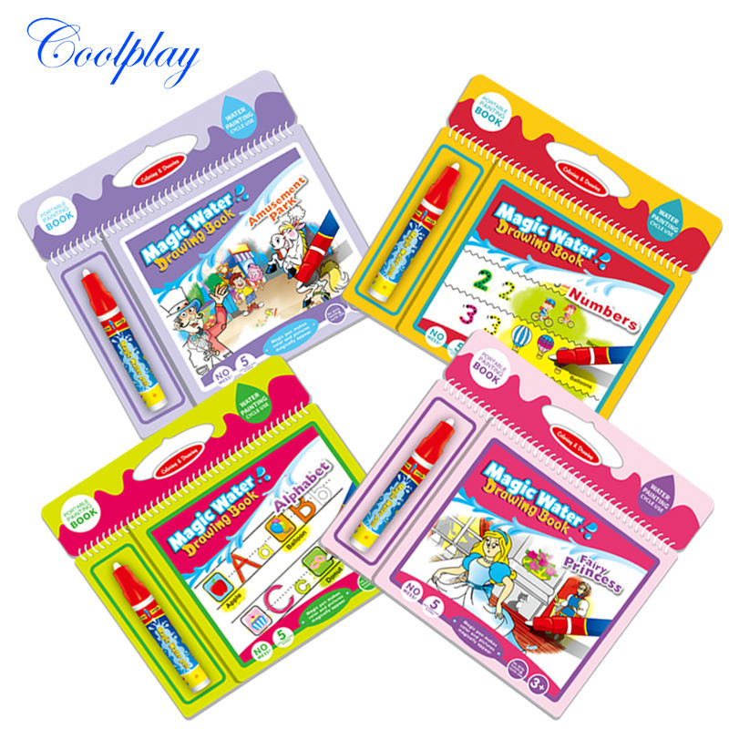 coolplay 4 types educational toys kids magic water drawing book with 1 magic pen intimate coloring book water painting board - Kids Paint Book