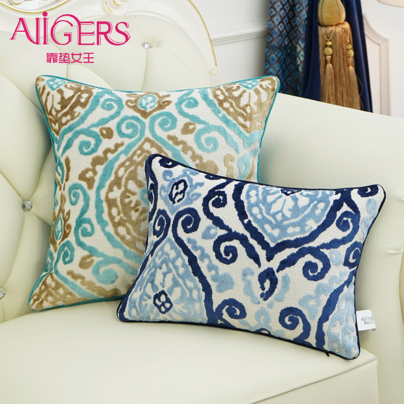 Avigers Thicken Velvet Embroidery Cushion Cover Blue Flower Pillow Case Home Decorative Sofa Chair Bed Seat Throw Pillow Cover in Cushion Cover from Home Garden