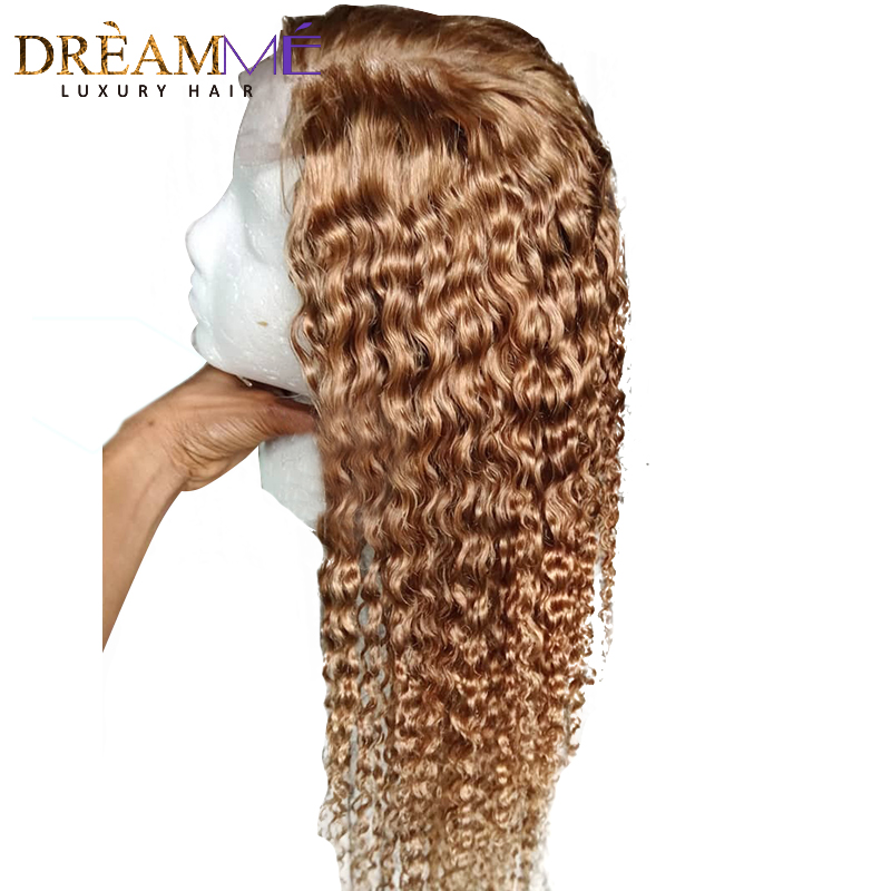 Honey Blonde Short Curly Human Hair Wig 13X6 Deep Part Lace Front Wig With Baby Hair Preplucked Glueless Remy Hair Colored Wigs-in Human Hair Lace Wigs from Hair Extensions & Wigs