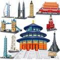 Wange 8011-21 Grandes arquiteturas 11 modelos London Bridge Big Ben Tiananmen Building Block Define Bricks DIY Brinquedos Educativos