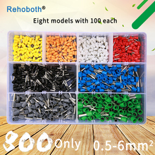 800pcs one set Cold-pressed Terminals Wire Connector Block 8 kinds Tube Insulating Crimp Terminal Ring Plug