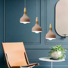 Khaki Pendant Light For Kitchen Island Metal Lighting Fixtures Bedroom Lights Office Modern Ceiling Lamp Bar Wood Pendant Lamps kitchen island lamps modern ceiling lamp vintage bar pendant lights loft wrought aluminum metal lighting fixtures for one pic