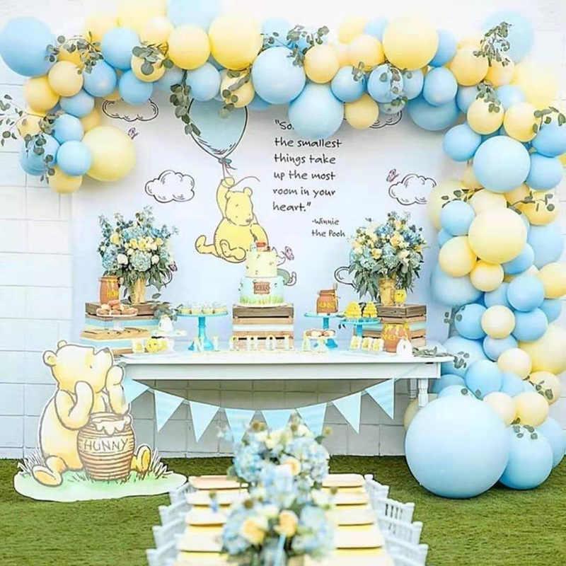 111 Pcs/set Macaron Biru Kuning Pastel Balon Garland Arch Ditetapkan untuk Anak Laki-laki Pesta Ulang Tahun Pernikahan Latar Belakang Dinding Dekorasi