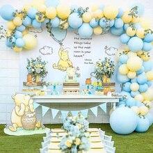111 sztuk/zestaw Macaron niebieski żółty pastelowy balon Garland Arch zestaw dla chłopców urodziny wesele tło dekoracje ścienne
