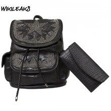 Для женщин Пояса из натуральной кожи Рюкзаки черный Сумки на плечо Винтаж заклепки лоскутное Tote Сумки женский Повседневное рюкзак большой мешок D140