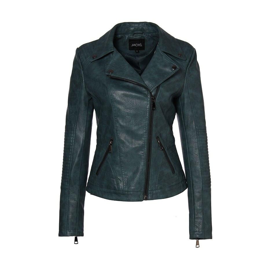 AORRYVLA 2019 Nouveau Printemps Femmes Faux veste en cuir De Mode Noir Couleur Turn-Down Col Courtes Fermetures Dames PU veste en cuir - 5