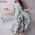 Vestidos 2017 ZANZEA Women Retro Elegant Maxi Long Dress Ladies O Neck Short Sleeve Two Layers Split Print Casual Loose Dress