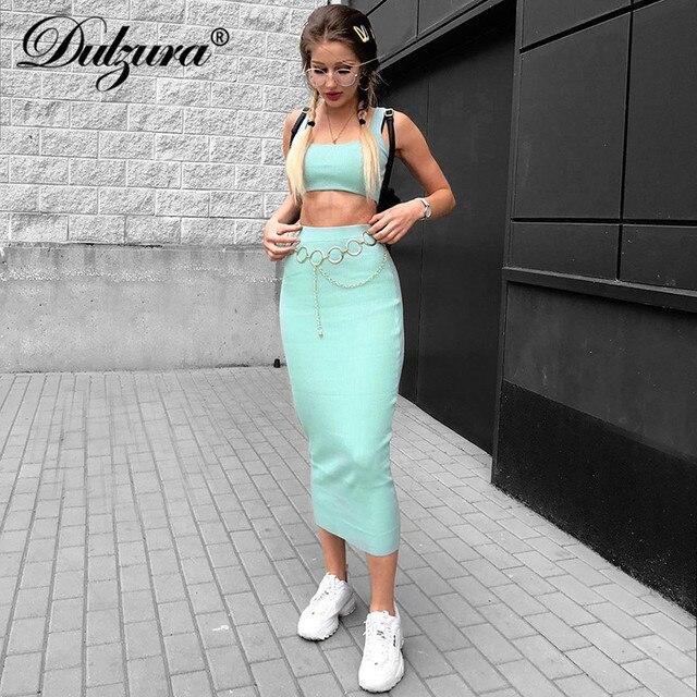 נשים מצולע לסרוג שתי חתיכה להגדיר ארוך חצאית יבול גופייה סקסי אלגנטי פסטיבל התאמה שיתוף ord בגדי מסיבת 2019 קיץ תלבושות