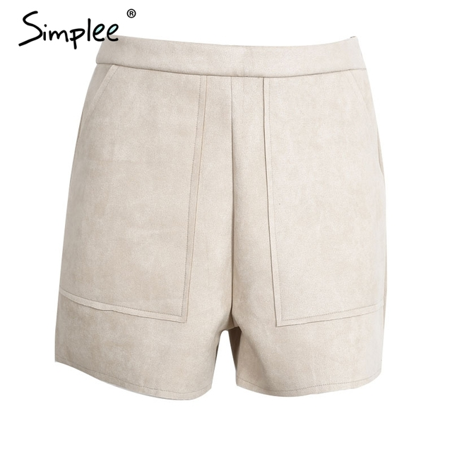 Simplee Casual suede high waist shorts Women autumn fashion black pocket zipper short femme Elegant army green winter shorts