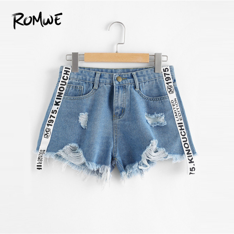 ROMWE Frayed Hem Ripped Letter Denim   Shorts   Blue Button Fly Mid Waist   Shorts   Women Summer Casual Jean   Shorts