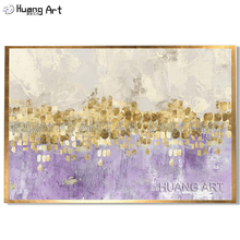 Hand Painted Abstract Gold Leaf Art with Gray and White Ombre Pictures Handmade Silver Chandelier Canvas Oil Paintings