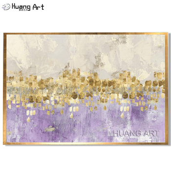 New Hand Painted Abstract Gold Art with Gray or Blue Wall Picture Handmade Golden and Purple Canvas Oil Painting for Home Decor