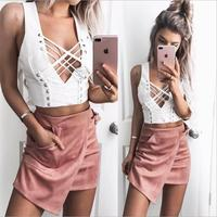 BKLD 2017 Summer Women Crop Tops Sexy Deep V Neck Cross Women T Shirt Sleeveless Slim