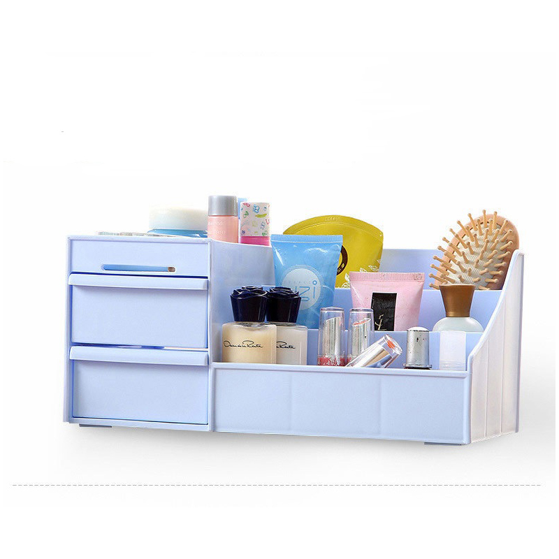 Cosmetic Storage Box Open High Capacity Plastic Container delicate design three small <font><b>drawers</b></font> colors available fast delivery