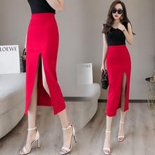 Plus Size Black Sexy Bodycon Pencil Long Skirts with Slit Womens High Waisted Elastic Red Bag Hip Skirt Step Skirt Clothes 2019 цена в Москве и Питере