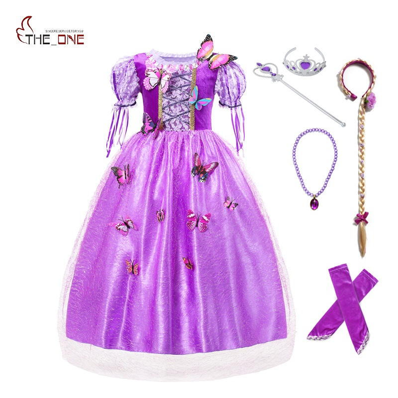 MUABABY Girl Rapunzel Dress up Ball Gown Puff Sleeve 5 Layers Tangled Princess Costume with Oversleeve Kids Hallowen Party Dress puff sleeve peplum top