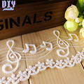 White Embroidered Cotton Musical Notes Mesh Lace Trim Ribbon Sewing Wedding Bridal Dress DIY Fabric Craft