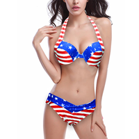 Nouveau Sexy Femmes D'été Beachwear Lady Push-Up Rembourré USA Bikinis Femmes Maillots De Bain Drapeau Américain Fringe Tassel Bandage Maillot de Bain