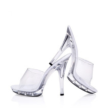цены 2019 Newest white Women Pumps Celebrity Wearing Simple Style PVC Clear Transparent Strappy Buckle Sandals High Heels Shoes Woman