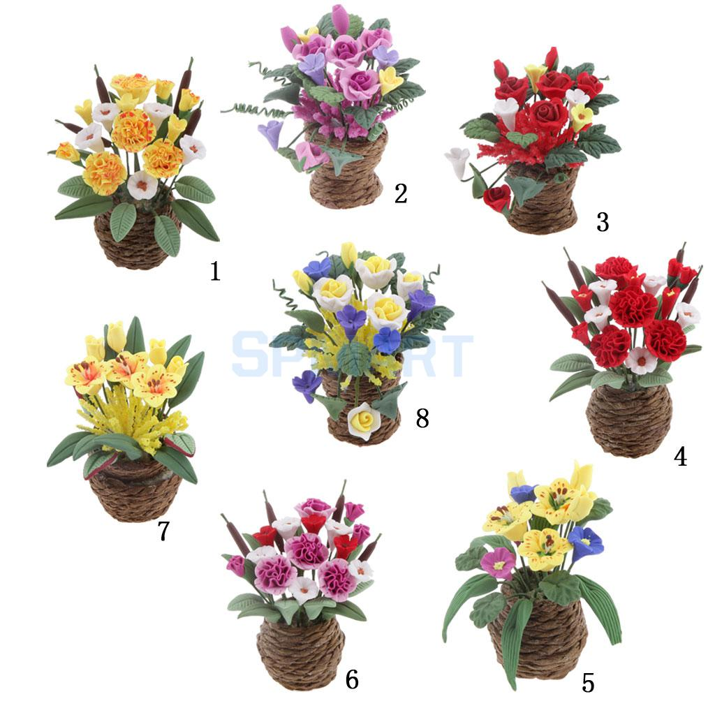 Dollhouse Miniature Clay Flowers In Rattan Pot Planter