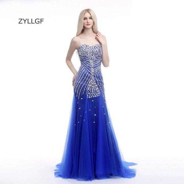 3924770a6 ZYLLGF Largo Vestidos de Noche Fishtail Sweetheart Corset Volver Cristales  de Lujo Con Cuentas Vestido de