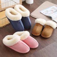 Mulher chinelos de casa inverno quente interior/piso sapatos casa banho de pelúcia chinelos de pele confortável deslizamento em sapatos femininos botas mujer