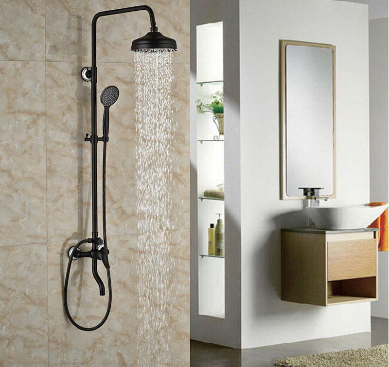 luxury bath tub shower set oil rubbed broze shower units mixer tap wall