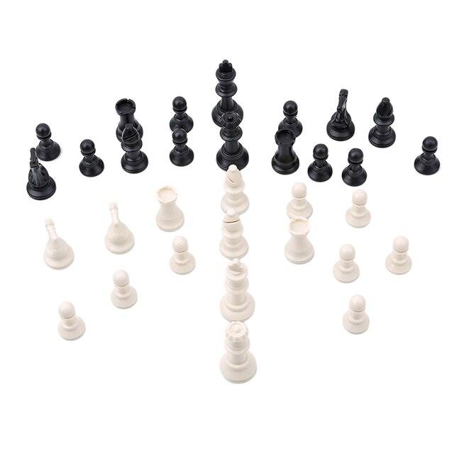 Buy Best 32 pcs Plastic Chess Pieces Complete Chessmen International Word Chess Set Black & White Chess Pieces Entertainment Item-