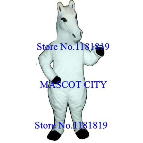 MASCOT CITY white horse Mascot mustang Costume Adult Cartoon Anime Cosplay Costume  Mascotte Carnival Fancy Dress Suit Kits