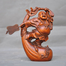 wedding decoration old Chinese Boxwood Hand carved coin mouse purse laughter maitreya Buddha Statue