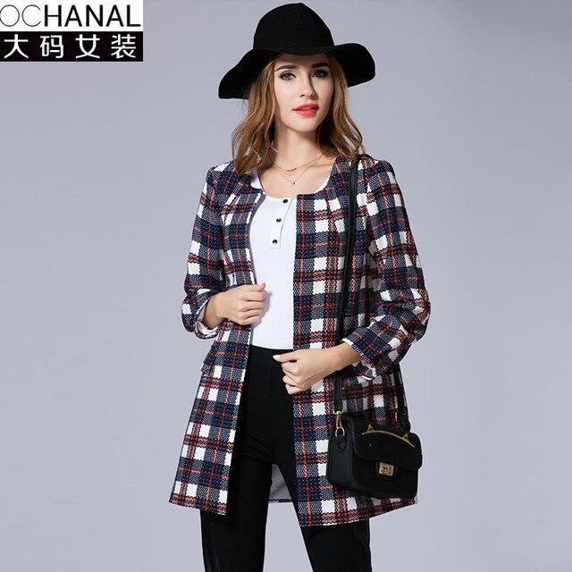 2016 estilo Europa mulheres trench coat tamanho grande outono e inverno nova moda das mulheres de Verificação fina mulheres pelagem longa atacado