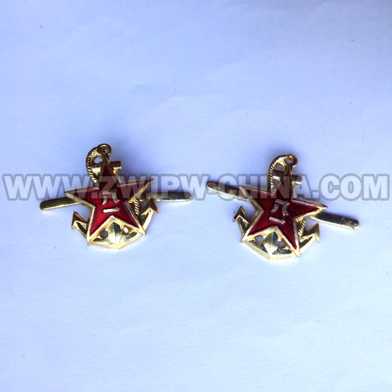 Chinese Army Navy Badge Military Anchor Badge Emblem Five Stars Badge Uniform Accessories