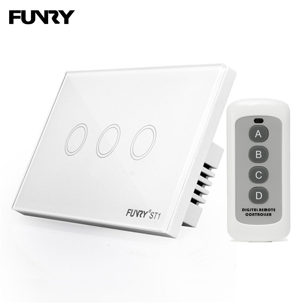 FUNRY ST1 3 gang Smart Home Light Switch 110-240V Luxury LED Lighting Switch Touch Remote Control US Standard White/White/Gold funry us au standard luxury crystal glass panel touch light switch 1 gang 1 way light switch wall switch for smart home