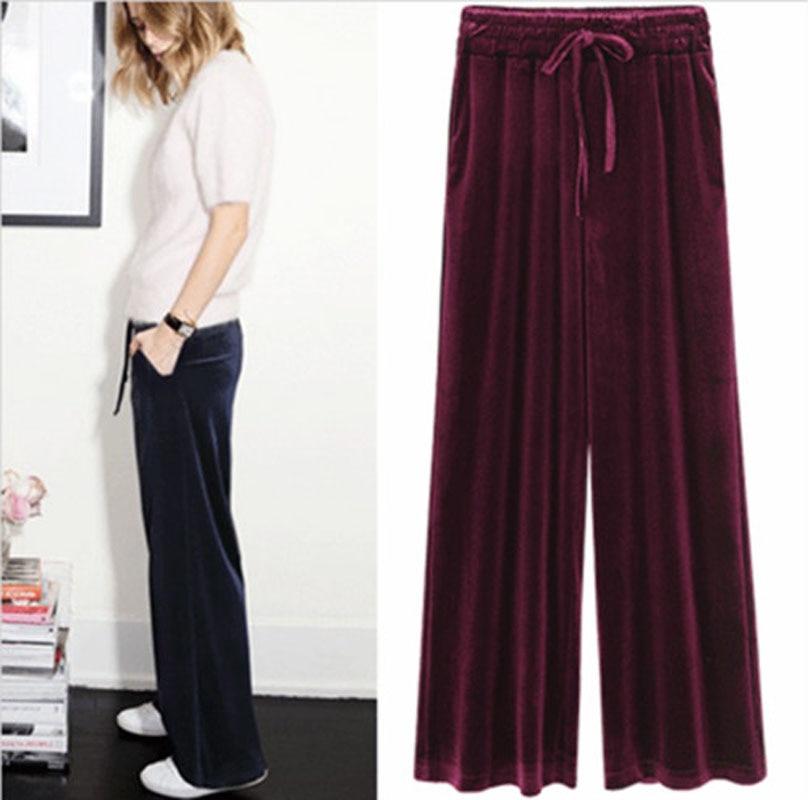 2018 New Autumn Winter Pants Women Plus Size 4xl  Velvet Pants Vintage Trousers Women Harem High Waist Loose Wide Leg Pant