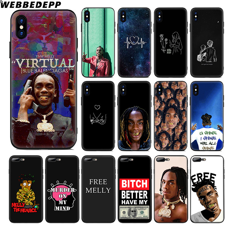 US $1 94 41% OFF|WEBBEDEPP YNW Melly Rap Soft Silicone Case for Apple  iPhone Xr Xs Max X or 10 8 7 6 6S Plus 5 5S SE Phone Case-in Fitted Cases  from