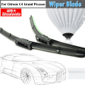 2 pcs car borracha macia lâmina janela limpador bracketless windshield wiper blades auto para citroen c4 grand picasso 2008-2013