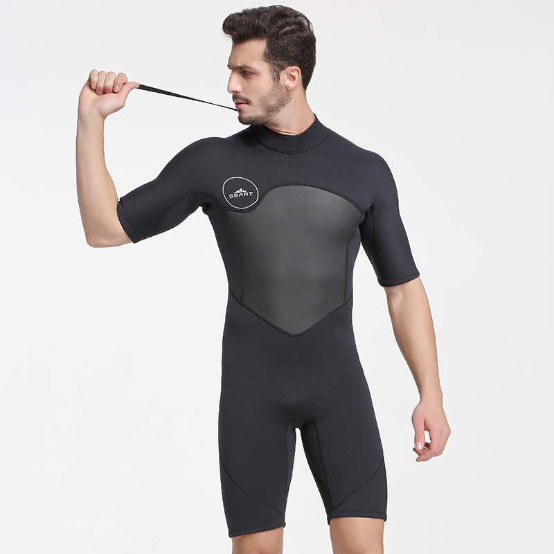 Image 3 - SBART 2MM Neoprene Wetsuit Men Keep Warm Swimming Scuba Diving Bathing Suit Short Sleeve Triathlon Wetsuit for Surf Snorkeling-in Wetsuit from Sports & Entertainment