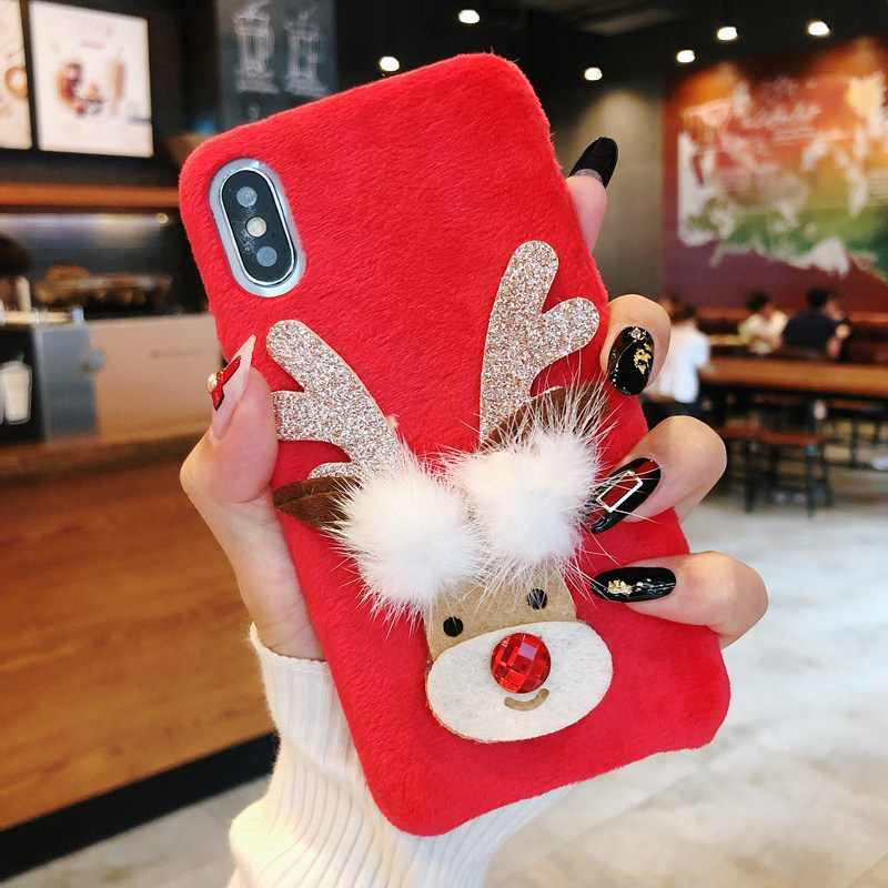 Cute Cases For iPhone 6 6s 7 8 X Plus XR XS MAX iphone 7 XS Lovely Plush Christmas Deer Phone Cover For iphone 8 iphone 6s Coque