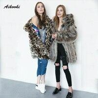 Aikooki Women Casual faux fur overcoat cat ears Leopard Thicken Warm Outwear Artificial High End Fur Coats Ladies imitation fur