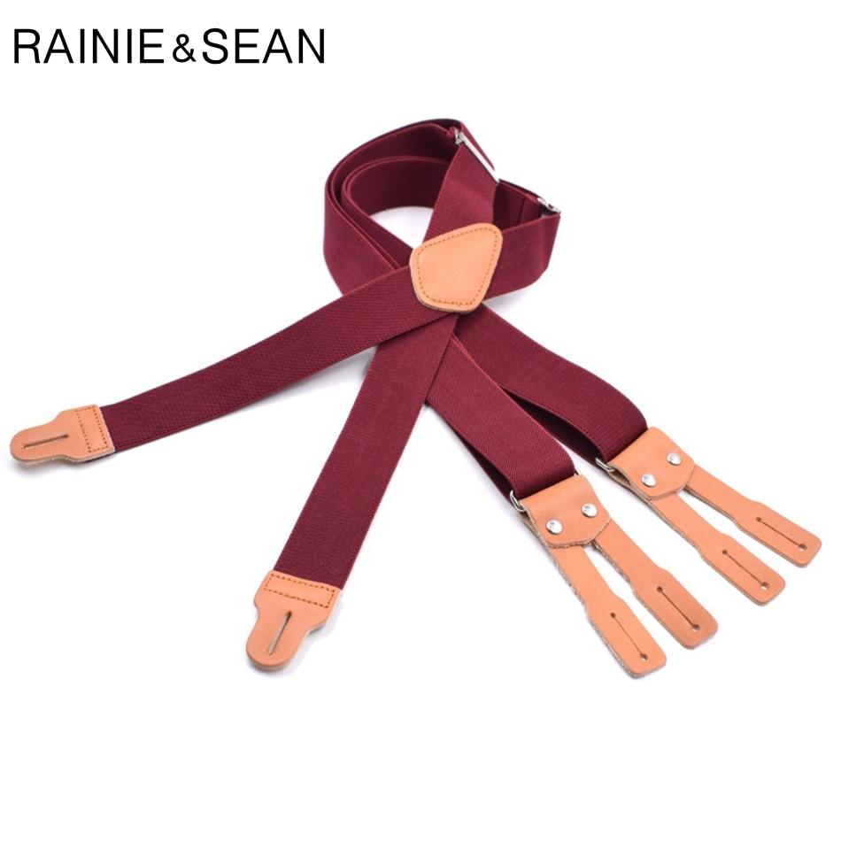RAINIE SEAN Red Suspenders Men Vintage Leather Mens Button Suspenders Adult Braces For Trousers Male Vintage Trousers Strap
