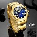 Мужские часы TEMEITE Брендовые мужские часы кварцевые роскошные золотые синие стальные мужские наручные часы водонепроницаемые креативные по...