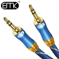 EMK 3,5 мм аудио кабель 3,5 мм разъем в нейлоновой оплетке папа-папа высококачественный Aux кабель 1 м 2 м 3 м 5 м для телефона автомобиля компьютера ...