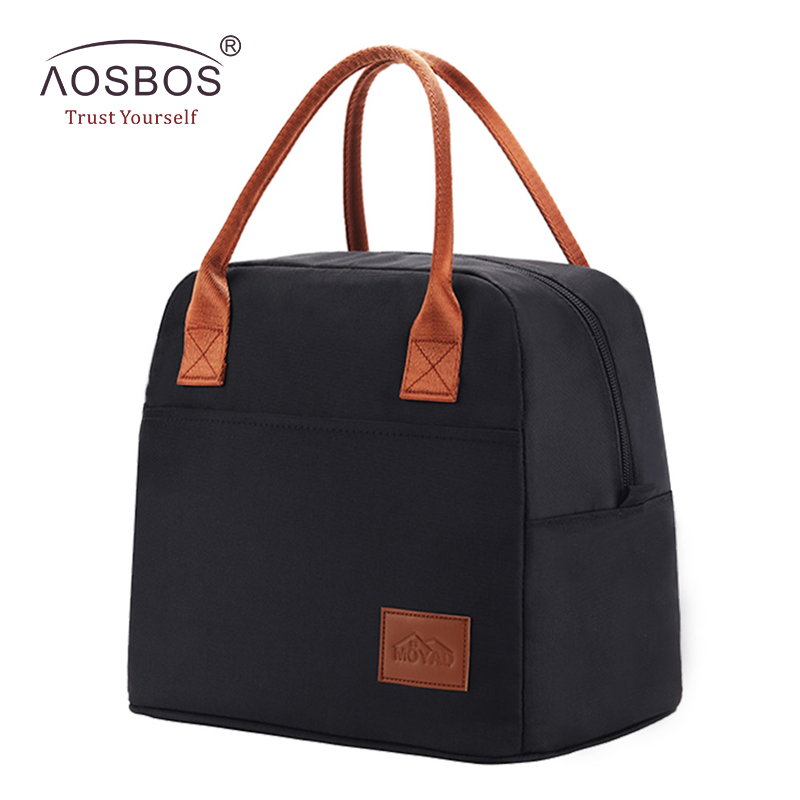 Aosbos Fashion Portable Cooler Lunch Bag Thermal Insulated Travel Tote Bags Large Food Picnic Lunch Box Bag for Men Women Kids aosbos portable cooler lunch box bag tote insulated canvas lunch bag thermal food picnic bento lunch bags for women kids men