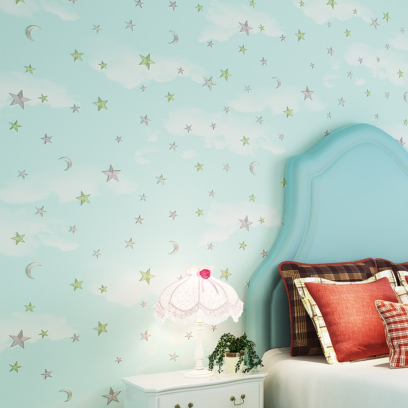 Children Room Wallpaper Pink Blue 3D Stars And Moon For Boys Girls Bedroom Wallpaper Roll Starry Themed Wall Paper For Kids Room non woven luminous wallpaper roll stars and the moon boys and girls children s room bedroom ceiling fluorescent home wallpaper