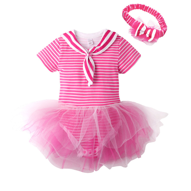 Baby Summer Striped Tutu Dress Kids Girl Birthday Prom Wedding  Princess Dress Children Girl Princess Costume with Headwear