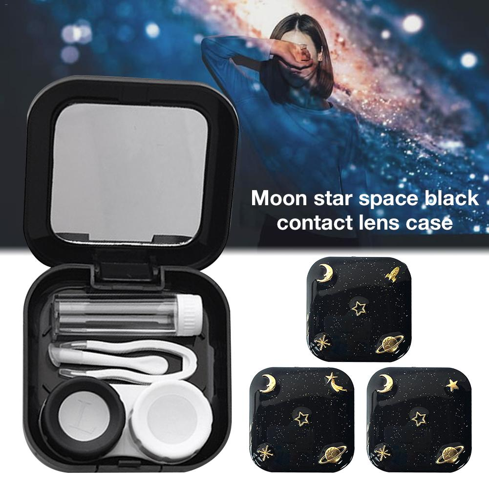 High Quality Moon Star Space Black With Mirror Contact Lens Case For Women Kit Holder Portable Contact Lenses Box