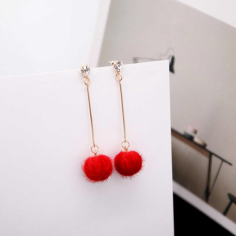 E0442 Nova Moda Suave Pele PomPom Bola Brincos Para Mulheres Rosa/Vermelho/Preto Longo Tassel Brincos Declaração de Ouvido jóias Por Atacado